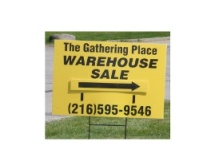 The Gathering Place Warehouse Sale driveway sign