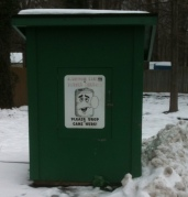 The Painesville Township Nye Road Fire Station's collection bin for aluminum cans remains in place.