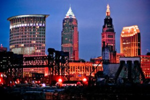 Cleveland's downtown skyline at twilight